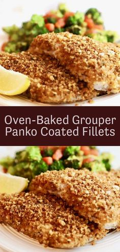 Oven-Baked Grouper Recipe - Easy Crispy Panko Coated Fillets - This Crispy Oven Baked Grouper recipe checks all of the boxes; this oven baked fish is quick, easy, - Grouper Recipes, Fish Recipes, Seafood Recipes, Baking Recipes, Chicken Recipes, Baked Grouper, Grouper Fish, Fish Dishes, Vegetarische Rezepte
