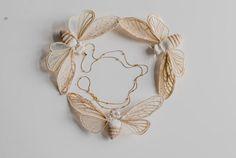 creme-white cicada pendantfiberart soft sculpture von mysouldesign