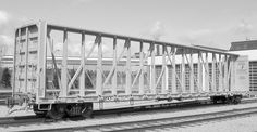 73-foot riserless centerbeam car is designed with a capacity of 112 tons at a gross rail load of 286,000 pounds.