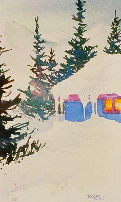Neighborhood. watercolor by Teresa Ascone