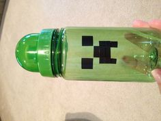 MineCraft Creeper water bottle that I made for my son's 9th birthday party