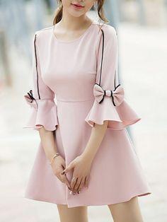 Crew Neck Pink Mini Dress A-line Frill Sleeve Sweet Cotton Bow Dress Pink mini dress with a round neck A-line ruffle sleeve Sweet cotton dress with bow Kurti Sleeves Design, Sleeves Designs For Dresses, Kurti Neck Designs, Dresses With Sleeves, Salwar Designs, Sleeve Dresses, Dress Designs, Pink Mini Dresses, Cute Dresses
