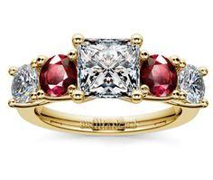 Princess Trellis Ruby and Diamond Gemstone Engagement Ring in Yellow Gold  http://www.brilliance.com/engagement-rings/trellis-ruby-diamond-gemstone-ring-yellow-gold