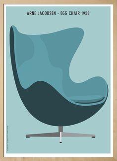 Plakat - Arne Jacobsens Egg Chair. Design kunstner Kim Lynnerup