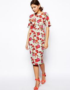 15fd2ee62e81f ASOS Wiggle Dress In Textured Pretty Floral Print With V Back at asos.com