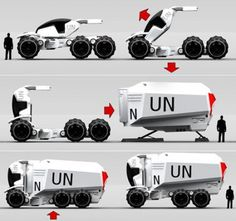 Future Transportation - A. – Aid Necessities Transporter By Bryan Lee (video) Future Trucks, Future Car, Future Transportation, Truck Design, Automotive Design, Auto Design, Futuristic Cars, Mechanical Design, Transporter