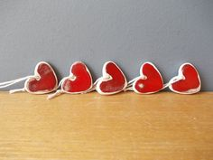 5 Ceramic Hearts / Red Gift Tags / FAVORS / Birthday Favors / HEART Chimes…