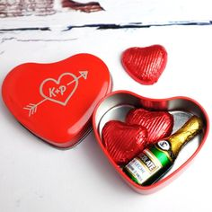 Personalised Heart Tin With Chocolates