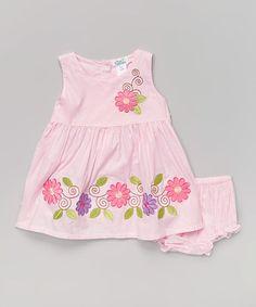 Look at this #zulilyfind! Pink Daisy Swirl Dress & Diaper Cover - Infant #zulilyfinds