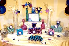 A Star Filled Quinceanera | Custom candy buffet by SDezigns #nj #candy buffet
