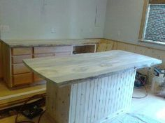 Blue Pine Live edge island counter top from SNWWOOD