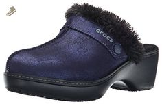 crocs Women's Cobbler Shimmer Leather Mule, Nautical Navy/Black, 7 B(M) US - Crocs mules and clogs for women (*Amazon Partner-Link)