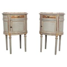 Check out this item at One Kings Lane! 1900s French Painted Nightstands, Pair