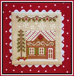 Country Cottage Needleworks Gingerbread House 7 - Gingerbread Village 10 . Model stitched on 32 Ct. Lambswool linen with DMC floss, Classic Colorworks & Weeks D