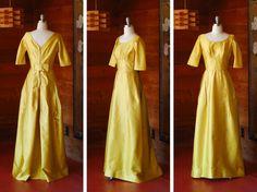 vintage 1960s dress / 60s gold Harry Keiser by honeytalkvintage