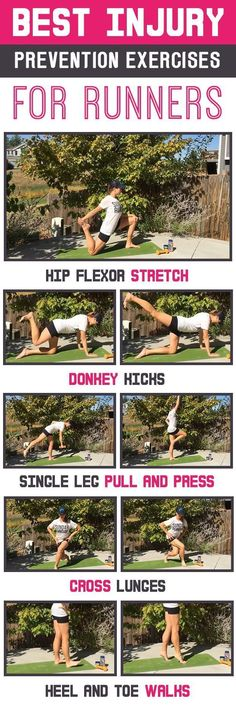 Best injury prevention exercises for runners - hip strength, glutes and mobility to prevent IT Band and Runner's Knee.