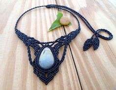 Labradorite macrame necklace macrame jewelry boho por SelinofosArt
