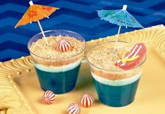 Beach Scene Dirt Cups Recipe Idea This dessert idea will make waves at your luau or beach party! Moana Birthday Party, Hawaiian Birthday, Luau Birthday, Hawaiian Luau, Hawaiian Parties, Birthday Ideas, Moana Party, Summer Birthday, 10th Birthday