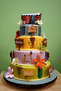 hawaiian style tiki cake!