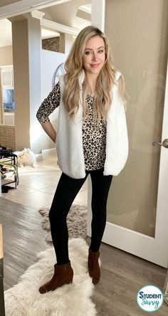 Everything is from Amazon! Red Dress Casual, Casual Outfits, White Long Sleeve, Long Sleeve Tops, Blanket Scarf Outfit, Brown Faux Leather Jacket, Animal Print Cardigans, Leopard Cardigan, Teacher Style