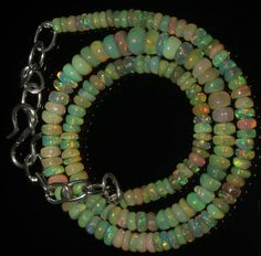 "35 Crts 1 Necklace 3to6mm 12"" Beads Natural Ethiopian Welo Fire  Opal  AA++55570"