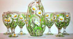 Hand painted Tea Glasses & Pitcher White Daisies 7 Piece Tea Set 6 Tea Glasses 1…