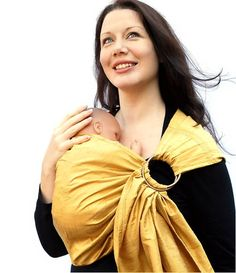 Ring Sling Baby Carrier Dupioni Silk Gold Rush Pleated by BabyEtte, $58.00
