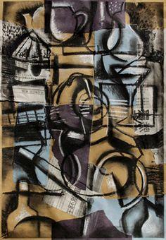 Cubist Still Life with Birdhouse, 2013, Mixed media on paper.  ©2014 Mark Nobriga marknobriga.com  All rights reserved.