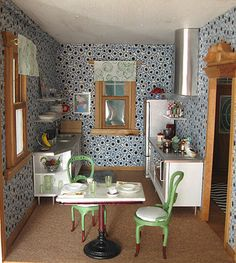Remodeled farm house as contemporary dollhouse, with mix of old and new, designer and found items.