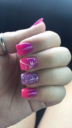Beach Nails! Pink purple ombré! Palm trees!