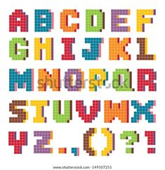 Find Vector Pixel Art Alphabet Set Fun stock images in HD and millions of other royalty-free stock photos, illustrations and vectors in the Shutterstock collection. Thousands of new, high-quality pictures added every day. Pixel Art Alphabet, Images Alphabet, Hama Beads Design, Hama Beads Patterns, Beading Patterns, Cross Stitching, Cross Stitch Embroidery, Cross Stitch Designs, Stitch Patterns