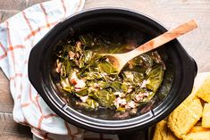 Prepare these Slow Cooker Collard Greens as a delicious side. These collards have a smoky ham flavor and a great broth! Vegetarian Barbecue, Barbecue Recipes, Vegetarian Cooking, Easy Cooking, Crockpot Recipes, Italian Cooking, Oven Recipes, Easy Recipes, Cooking Videos