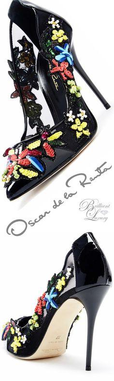 Brilliant Luxury ♦ Oscar de la Renta 'Alyssa' Multi Floral-Detailed Mesh Pumps