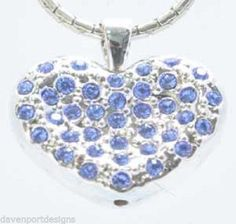 Heart Pendant Blue Rhinestones Jewelry Valentine Love Romance Cupid Peace Gifts #DavenportDesigns #Pendant