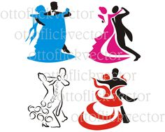 DANCING SILHOUETTES VECTOR clipart, ballroom dancing eps, ai, cdr, png, jpg cut, print digital graphics, couple dancing standard by ottoflickvector on Etsy