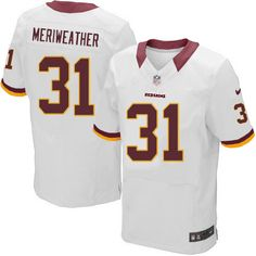 Men Nike Washington Redskins  31 Brandon Meriweather Elite White NFL Jersey  Sale Dolphins Dan Marino d8281f129