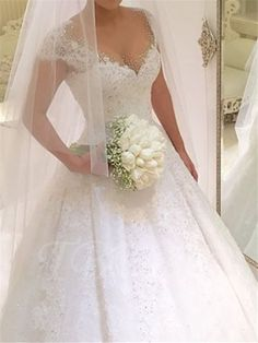 Beading Lace Ball Gown Princess Wedding Dress