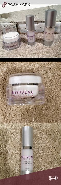 Nouveau Restor Anti-Wrinkle System Brand new and Sealed. Comes with 1oz revitalizing cream. Ageless eye revitalizar 0.5 oz. Vitamin C facial serum 1oz. nouveau restor Makeup