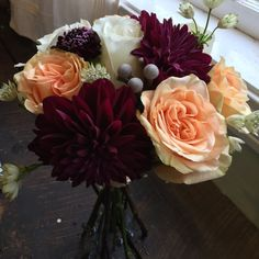 Burgundy, Peach And White Wedding Flowers including dahlias, roses, scabios and brunia -by Alison Ellis of Floral Artistry Burgundy Wedding Flowers, White Spray Roses, Bride Bouquets, Bouquet Wedding, Wedding Dresses, Flower Arrangements, Wedding Arrangements, Wedding Inspiration, Wedding Ideas