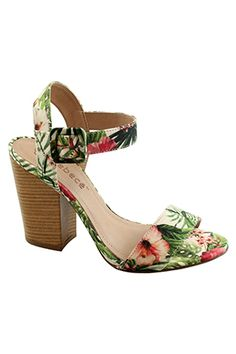 Bebecê - Sandália em tecido floral, salto grosso, médio, amadeirado.