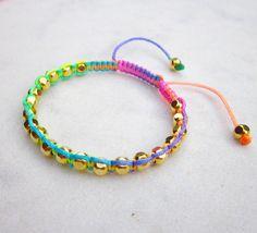 Rainbow friendship bracelet macrame bracelet by pieceofart on Etsy, $20.00