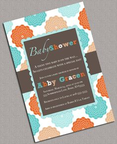Neutral Baby Shower Invitations Printable, Orange, Turquoise - 976. $13.50, via Etsy.