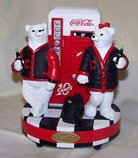 "Coca Cola Polar Bears ""Varsity Letterman Sweaters"" Coca Cola Cake, Coca Cola Polar Bear, Letterman Sweaters, Always Coca Cola, World Of Coca Cola, Vintage Coke, Polar Bears, Collectible Figurines, The Good Old Days"