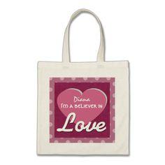 LOVE and Heart Polka Dots Custom Name V8 Canvas Bag To see customizable totes visit http://www.zazzle.com/jaclinart/gifts?cg=196427799858145824  #monogram #tote #wedding #jaclinart #bridesmaid