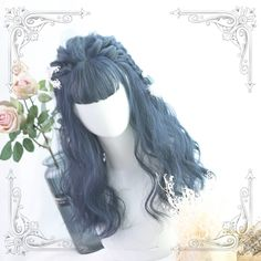 Kawaii Hairstyles, Cute Hairstyles, Kawaii Wigs, Kpop Hair, Blue Wig, Hair Sketch, Anime Hair, Ombre Hair Color, Aesthetic Hair