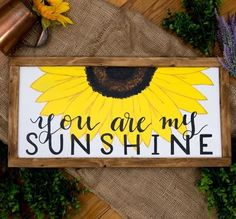 You are my sunshine wall art Spring wall decor Sunflower decor Sister gifts Gifts for mother Pallet art Rustic wood sign Mother's day gifts You are my sunshine Framed Nursery art, Colorful sunflower art, Woodland Nursery Decor, Unique sister gifts