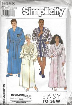 Simplicity 9458 Men's & Women's 80s Unisex Robe Sewing Pattern Chest Bust size 30 to 48 by Denisecraft on Etsy