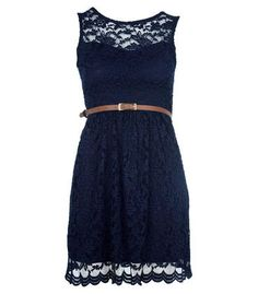 Navy Sweetheart Lace Shift Dress