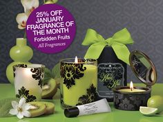 Love Forbidden Fruits!! Currant Casanova, Kiwi Kiss, Cranberry Crush, Fig Fatale and Plum Pleasure. #PartyLite #candles