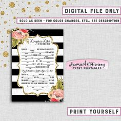 """Lingerie Mad Libs Game """"Black and White, Florals"""" (Printable File Only) Shower Game Digital Ooh La La Beach Bride Summer Sand Sun Water Wave"""